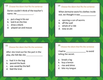 Idiom Task Cards and Worksheets