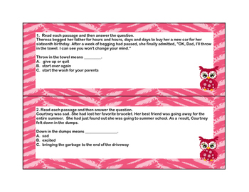Idiom Task Cards for Grade 4- Covers  CCS L.4.5