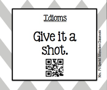Idiom Task Cards with QR Codes