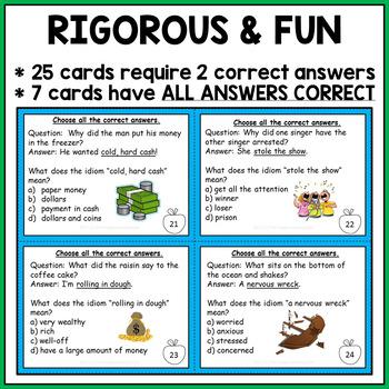 Idioms Task Cards #celebratedeals