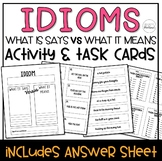 Idiom Visual Worksheet & Task Cards