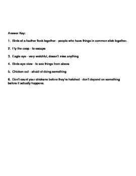 Idiom Worksheet - Birds