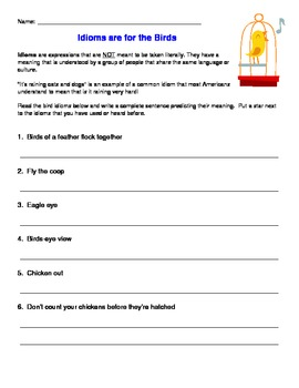 Idiom Worksheet - Birds