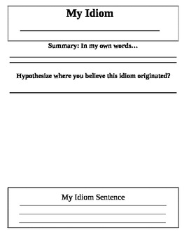Idiom Worksheet Drawing Out