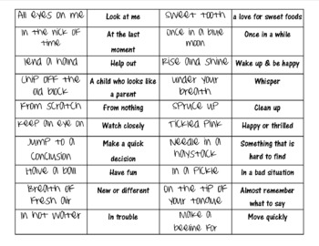 Idiom list and meanings