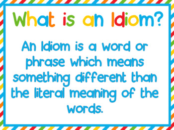 Idiom of the Week Powerpoint  posters and printables- 36 weeks- ESL ESOL