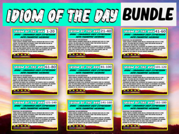 Idiom-of-the-day - ALL 9 versions (1-180) A new idiom for each day of school