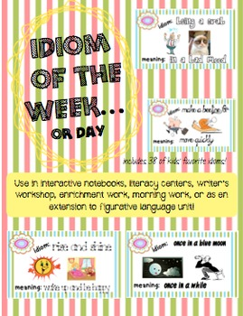 Idiom of the week (or day) 38 posters and response cards