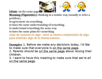 Idiom: on the same page