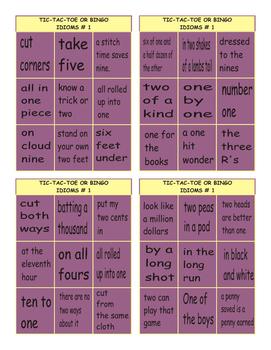 Idioms #1 Tic-Tac-Toe or Bingo