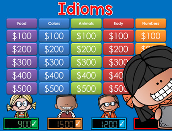 Idioms Jeopardy Style Game Show