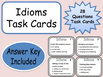 Idioms 28 Task Cards Questions with Answer Key