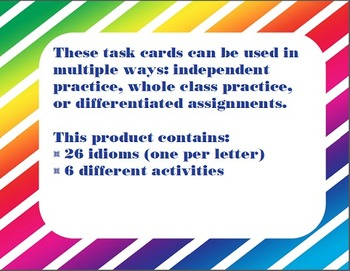 Idioms A - Z Task Cards