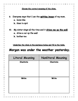 Idioms Assessment Literal & nonliteral meanings