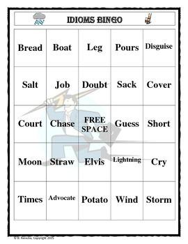 Idioms Bingo (30 pre-made cards!)