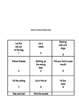 Idioms Bingo and Matching Center