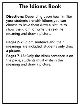 Idioms Book Idioms and Their Meanings Book Idioms Activity Idioms Center Idioms