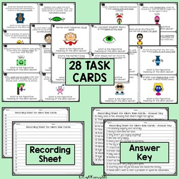 Idioms Bundle With 28 Idioms Task Cards + Figurative & Literal Practice