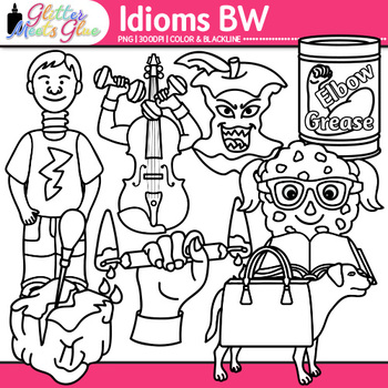 Idiom Clip Art {Figurative Language Use for Bad Apple, Smart Cookie} B&W