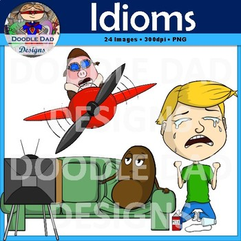 Idioms Clip Art (Pigs Fly, Cut a Rug, Cat Out of Bag, Couch Potato, Piece Cake)