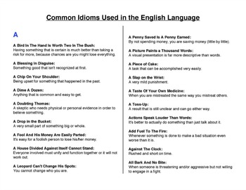 Idioms - Common Idioms Used in the English Language