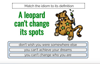Idioms Definition Match - Boom Cards