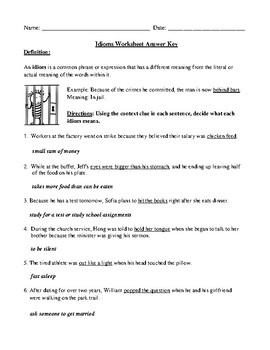 Idioms Definition and Review Worksheet with Answer Key