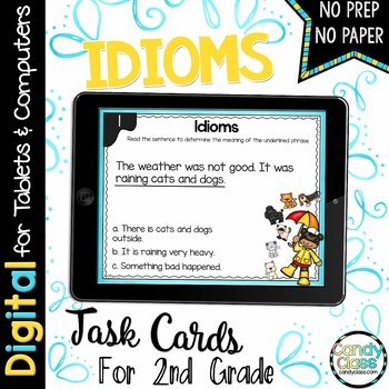 Idioms Digital Task Cards - Paperless for Google Classroom Use
