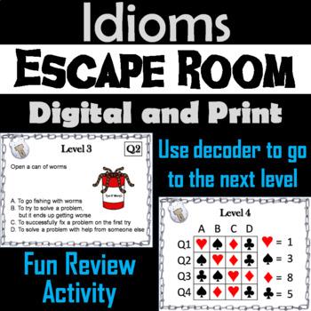 Idioms Escape Room - ELA  (Figurative Language Activity)