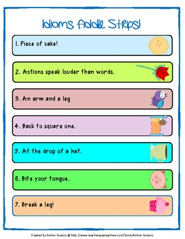 Idioms Fiddle Strips! Game