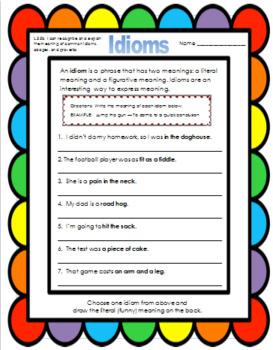 Idioms - Fifth Grade