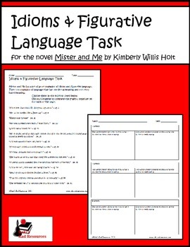 Idioms & Figurative Language Task- for the novel Mister and Me