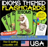 Idioms Flashcards, Set of 50 Ready to Print and Laminate, Green Themed