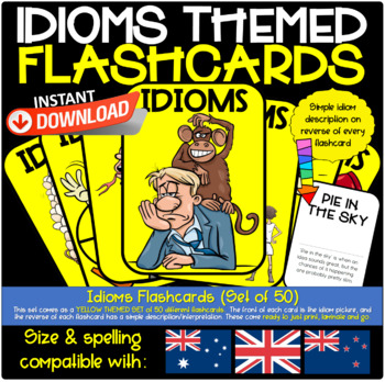 Idioms Flashcards, Set of 50 Ready to Print and Laminate, Yellow Themed