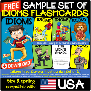 Idioms Flashcards FREEBIE SAMPLER FROM SETS