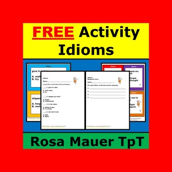 Idioms Free Classroom Activity Task Cards