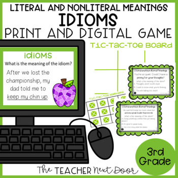 Idioms Game |  Idioms Center | Literal and Non-literal Word Meanings Game