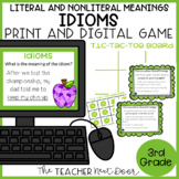 Idioms Game Literal and Nonliteral Meanings Print and Digi