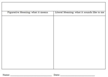 Idioms Graphic Organizer with Sampling of Idioms