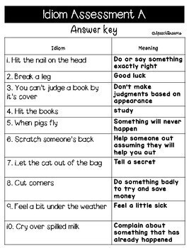 Idioms Informal Assessment of Literal vs. Nonliteral Meaning {Autism}