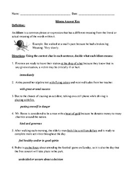"Idioms: ""Learning the Ropes"" Worksheet and Answer Key"