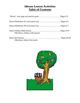 Idioms Lesson Activities - Figurative Language