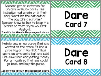 Idioms (Literal and Non-literal Language) Truth or Dare Task Cards
