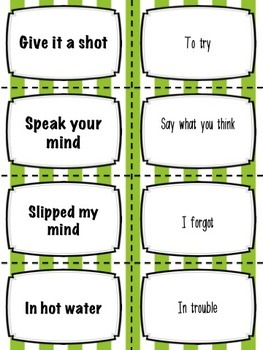 Idioms Match (NO-PREP) - 4 SETS OF CARDS - 160 CARDS IN ALL!