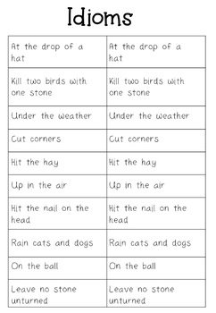 Idioms Matching Activity