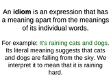 Idioms Origins and Examples + Worksheet & Poster Prompt