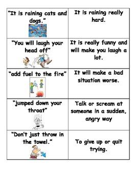 Idioms Partner Match- Center Activity