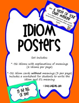 Idioms Posters With and Without Meanings