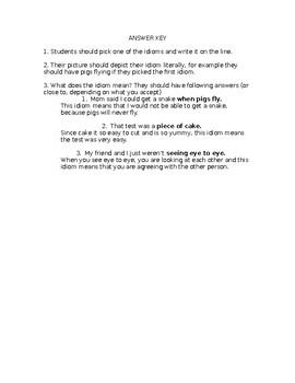 Idioms Practice Worksheet
