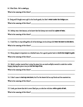 Idioms Practice Worksheets